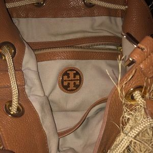 Tory Burch Leather Trimmed Straw Purse/Backpack